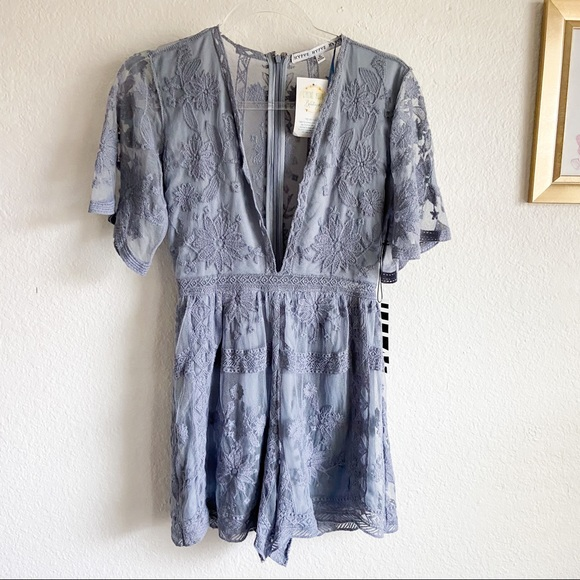 NEW HYFVE dusty blue lace romper small
